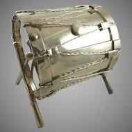 Antique English Figural Silver Plate Biscuit Box Shaped as Drum