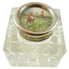 Antique English Cut Crystal Inkwell with Fox Hunting Scene Equestrian Interest