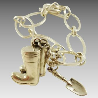 Sterling Silver Bracelet with Garden Charms Gardening Boots and Trowel