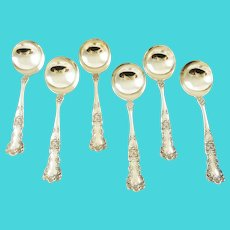 Gorham Sterling Silver Bouillon Spoons, Set of Six Buttercup Pattern