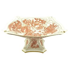 Royal Crown Derby English Bone China Compote Red Aves Pattern