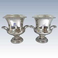 Matching Pair Old Sheffield Plate Coolers