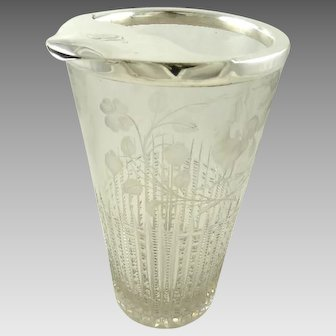 Whiting Sterling Silver & Crystal Cocktail Pitcher with Strainer Bar Ware
