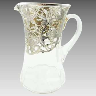 Sterling Silver Overlay Pitcher Feauring Grape & Vine Motifs