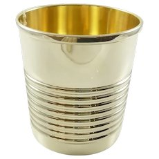 Sterling Silver Mint Julep Cup, Banded with Gilt Interior