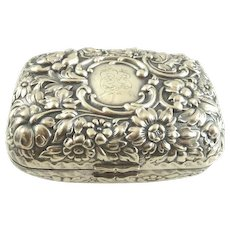 Antique Sterling Silver Soap Box Holder Repousee C. 1890
