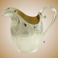 "Barker Ellis Silver Engraved Pitcher 9"" High"