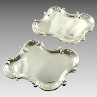Whiting Sterling Silver Dishes Trays with Rococo Motifs