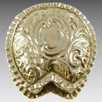 Sterling Silver Horseshoe Shaped Box Gilt Interior Trinket or Bill Container