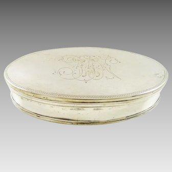 Silver Italian Trinket Hinged Box with Gilt Interior