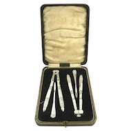 Antique Nut Cracker or Seafood Pick Set Silver Plate with Fitted Case