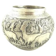 Persian Silver Bowl Ornately Decorated