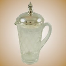 Royal Danish Cocktail Shaker with Handle Sterling Silver and Crystal