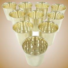 Set of Ten sterling Beakers by Tiffany & Co 32 Troy Ounces