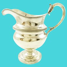 Antique Coin Silver Milk Jug or Large Creamer by Harvey Lewis, Philadelphia