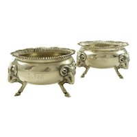 Pair of Antique Gorham Coin Silver Salts with Ram Heads