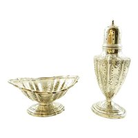 Antique Durgin Matching Set Salt Cellar/Dish and Pepper