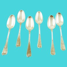 Antiqiue Georgian and Victorian Dessert or Soup Spoons, Set of Six with Armorial
