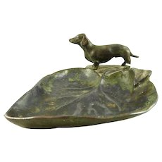 Bronze Leaf Shaped Tray Featuring a Statue of a Dachshund