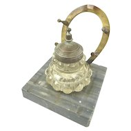 Antique Marble & Bronze Horseshoe Inkstand Ink Pot