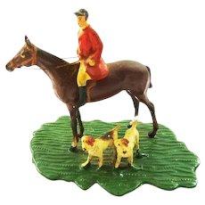 Miniature Huntsman & Hounds Figurine Fox Hunting Horse Rider & Hounds
