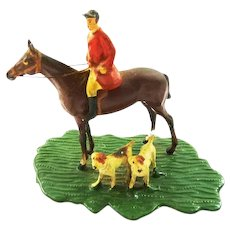 Miniature Huntsman & Hounds Figurine Fox Hunting Horse Rider & Hounds