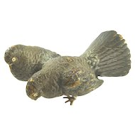 Antique Cold Painted Bronze Figurine in the Form of Two Pigeons