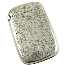Antique Sterling Silver Match Safe Strike Vesta Case