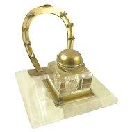 Antique Brass and Marble Ink Stand Ink Pot Jockey's Helmet Cap Horse Shoe Pen Holder