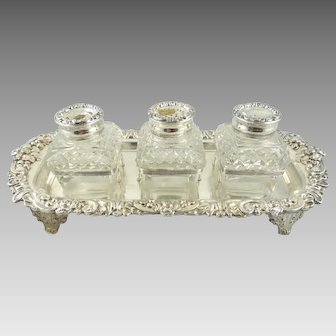 Antique Old Sheffield Plate Inkstand Inkwell with Pounce Pot