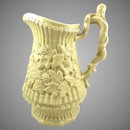Antique Large  Drabware Pitcher Ivy Leaf & Berry Motif