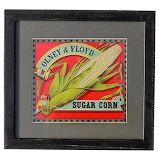 Antique Sugar Corn Packing Crate Label In Black Wooden Frame