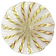 Vintage Venetian Latticino Glass Pedestal Bowl