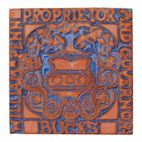 Signed Special Edition Moravian Tile - William Penn Proprietor And Governor, Circa 2004