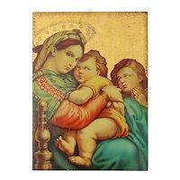 Large Vintage Florentine Gilt Wood Madonna And Child Plaque