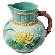 19th Century English Majolica Water Lily Pitcher, Circa 1870