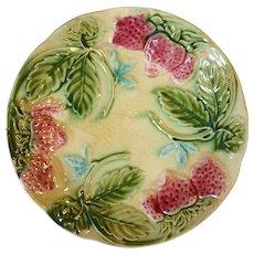 19th Century French Majolica Strawberry Plate, Circa 1870