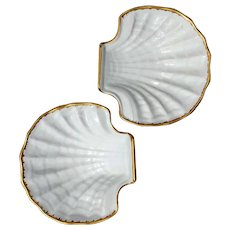 Pair Of Vintage Limoges Scallop Shell Porcelain Bowls