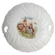 Antique French Limoges Handled Serving Plate, Circa 1900