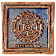 Vintage Moravian Tile - Rotary International Newtown PA, Circa 1981