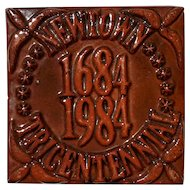Moravian Pottery Tile Of Newtown Tricentennial 1684 - 1984