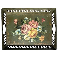 Vintage Hand-Decorated Floral Metal Tole Tray