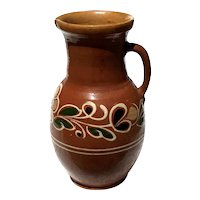 Large 19th Century French Redware Pottery Pitcher