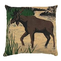 Signed Maine Moose Pine Needle Pillow
