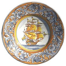 Large 19th Century French Faience Bowl With Tall Ship Decoration