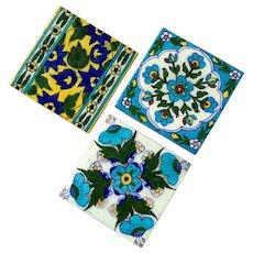 Set Of Three Vintage Persian Tiles