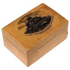 Antique Mauchline Princeton, Mass Souvenir Stamp Box, Circa 1900