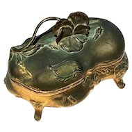 19th Century Gilt Metal Pansy Vanity Box By N.B. Rogers Silver Plate Co.
