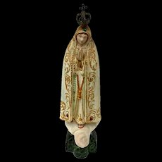 Antique Composition Madonna With Jewels And Gold Gilt Metal Crown