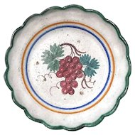 Early Vintage Italian Faience Pottery Plate With Grapes
